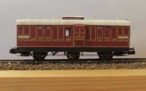 This is one of Gareth's earlier efforts, a SECR 6 wheel passenger luggage van from a Bill Bedford kit.