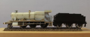 The Mogul has a home cast resin boiler from a turned brass master and resin cylinders and firebox from a plastic master. The footplate and cab are milled nickel silver. It utilises Nigel's own chassis kit from the Manor and the tender is the Dapol item. It is powered by a Mashima 1016.