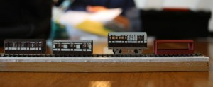 David's North Staffordshire Railway Coaches from Etched Pixels kits comprising etches on a 3D printed shell (right)